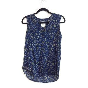 Anthropologie Maeve Banana Print Sleeveless Blouse